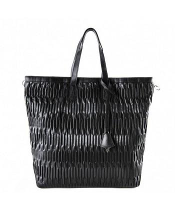 Bag backpack, Salua black, in eco leather embossed
