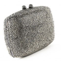 Bag clutch, Samona silver, satin, and rhinestones