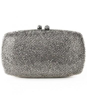 Bag clutch, Samona silver, satin, and rhinestones