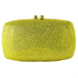 Bag clutch, Samona yellow, satin, and rhinestones