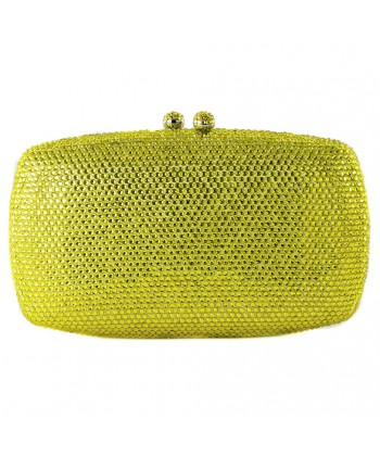 Bag clutch, Samona yellow, satin, and rhinestones