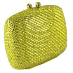 Borsa clutch, Samona gialla, in raso e strass